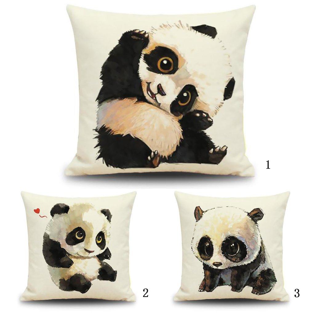 Coton Taie d/'oreiller carr/ée en lin avec un mignon panda imprim/é pour d/écoration de maison #5 18*18 inch