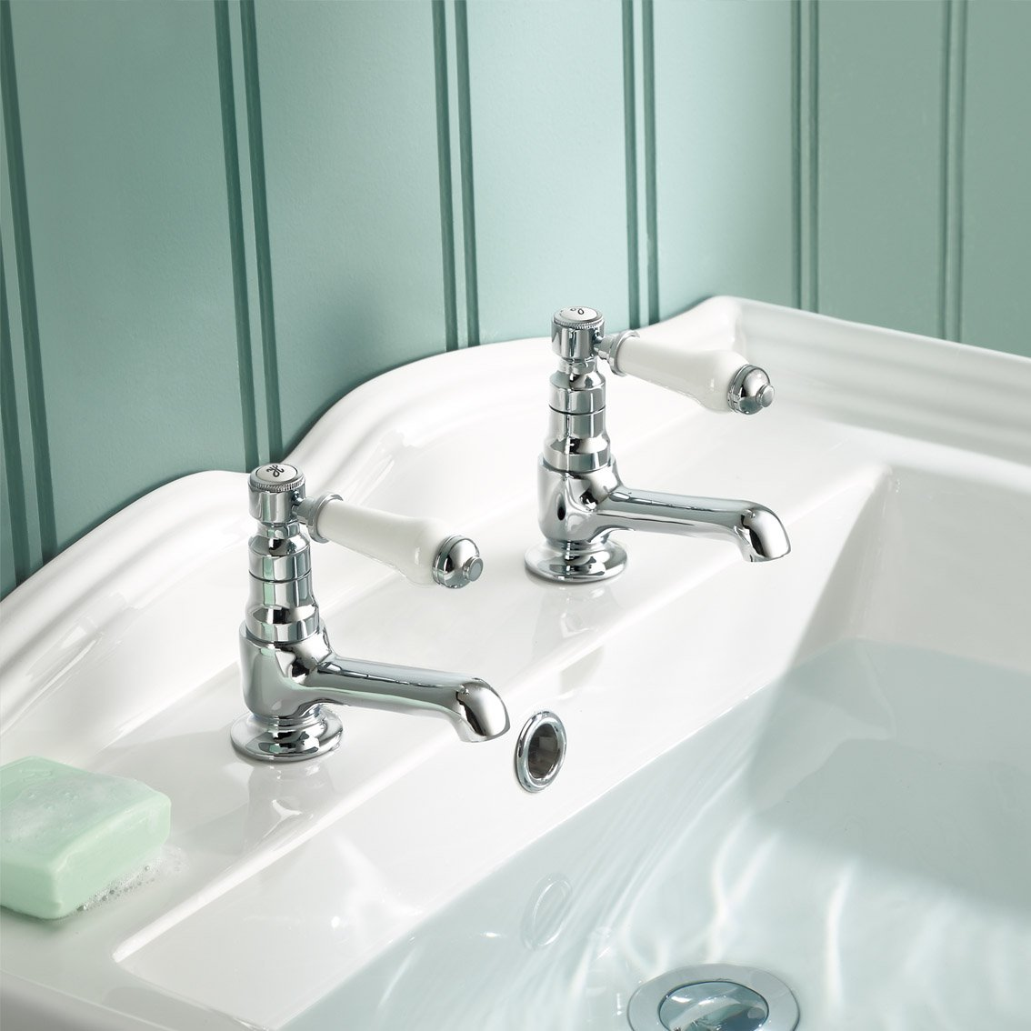 Traditional Twin Basin Sink Hot and Cold Taps Pair Chrome Bathroom ...