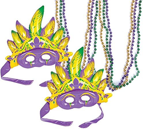 KOVOT Inflatable Mardi Gras Mask & Bead Necklaces Set (2 Masks & 6 Beads) (Mardi Gras Inflatables)