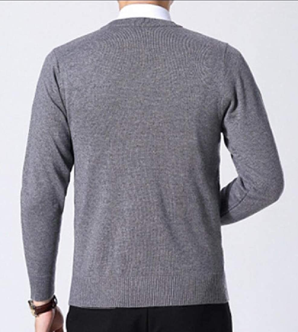 Gocgt Mens Slim Solid Knitted Long-Sleeve Sweater V Neck Tops Pullover