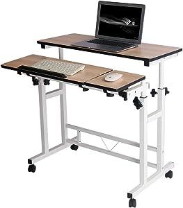 Mobile Stand Computer Workstation Rolling Adjustable Computer Laptop Desk Corner Desk from Poarmeey (White)