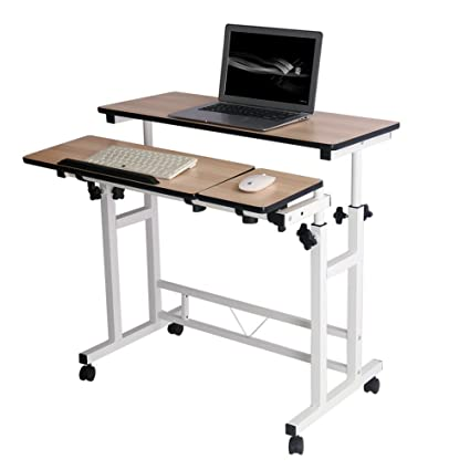 577118cbce95 Mobile Stand Computer Workstation Rolling Adjustable Computer Laptop Desk  Corner Desk from Poarmeey (White)