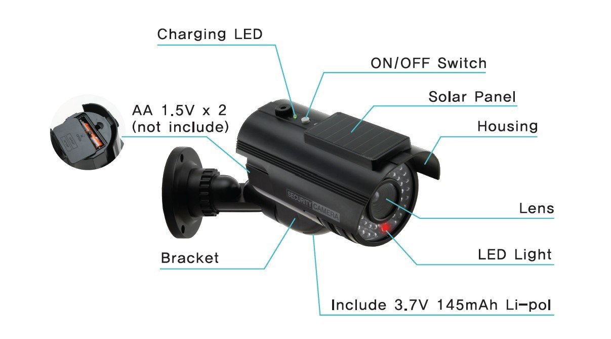 UniquExceptional UDC9black Solar Powered Fake Dummy Security Camera