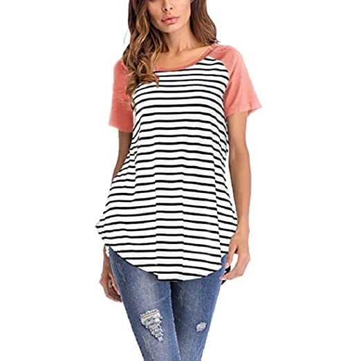 407cbb8beb413d GONKOMA Women Tops Casual Short Sleeve O Neck Striped Patchwork Blouse T  Shirt Summer Tunics Tees