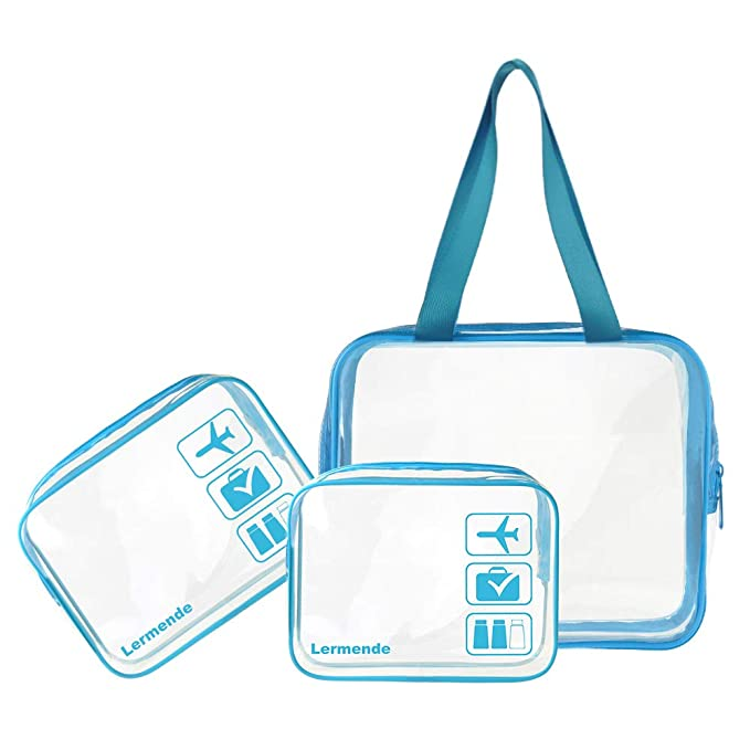 f3d1beb5ef7b49 Amazon.com: 3pcs Lermende TSA Approved Clear Toiletry Bag Set 3-1-1 Travel  Cosmetic Pouch Leakproof Luggage Makeup Tote Bags in 2 Size - Blue: Clothing