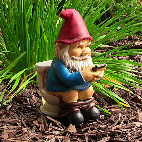 Cody the Gnome Reading Phone on the Throne, 9.5 Inch Tall by Sunnydaze Decor