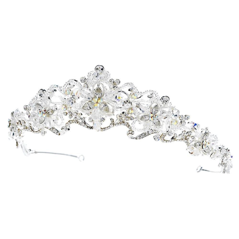 Silver Crystal Princess Bridal Tiara, Crystal Tiaras Crystal Headpieces, Bridal Headpieces