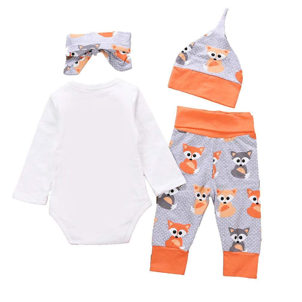 Memela Baby Clothes,4 Pcs Newborn Baby Girls Clothes Miracles Letter Romper Outfit Pants Set Hat+Headband