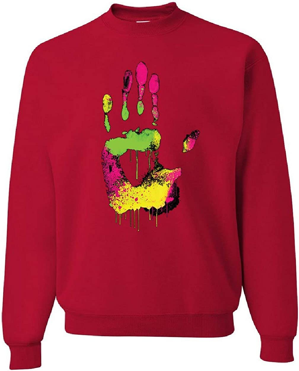 Tee Hunt High Five Sweatshirt Melting Neon Dripping Hand Positive Multicolor Sweater