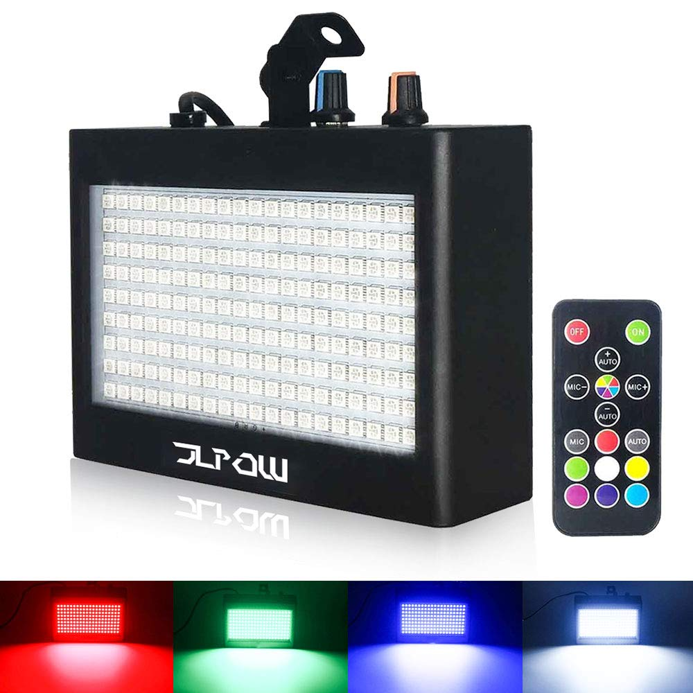 Halloween Strobe Lights, JLPOW Ultra Bright RGB LED Strobe light (Metal Case) , Sound Activated and Remote Control, Speed Adjustable Mini Flash Stage Lighting, Best for DJ Party Bar Show Disco Dance by JLPOW