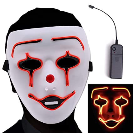 Novelty & Special Use Kids Costumes & Accessories Halloween Mask Led Masks Glow Scary Mask Light Up Cosplay Mask Glow In Dark For Festival Music Party Costume Christmas Fancy Colours
