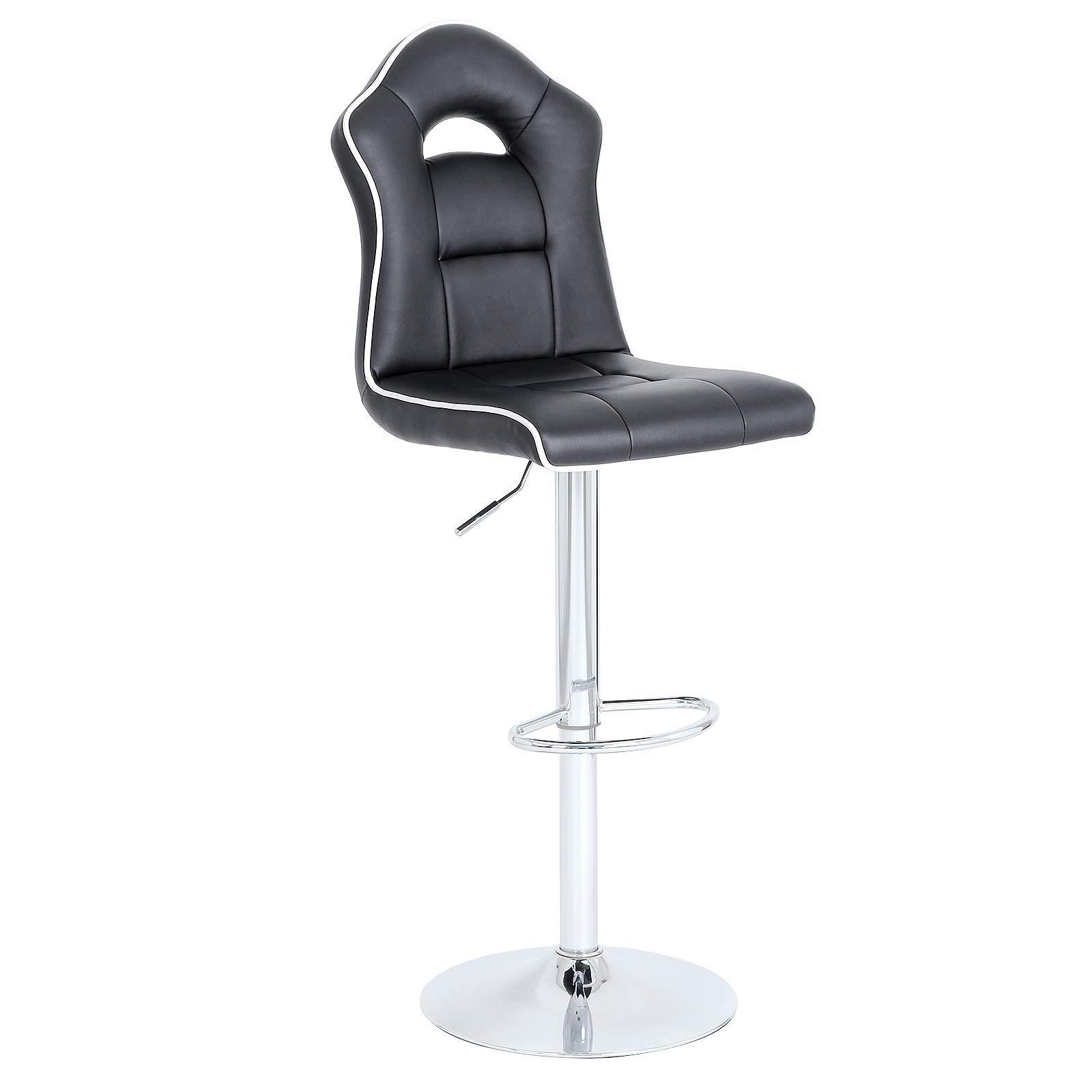 SONGMICS 10 Bar Stool, Adjustable Bar Chair, Adjustable Swivel Breakfast  Kitchen Stool with Footrest, Chrome-Plated Steel