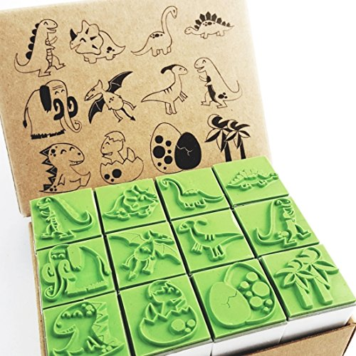Np Crafts 12 Kids Dinosaur Rubber Stamps Set Animal Rubber Stamp
