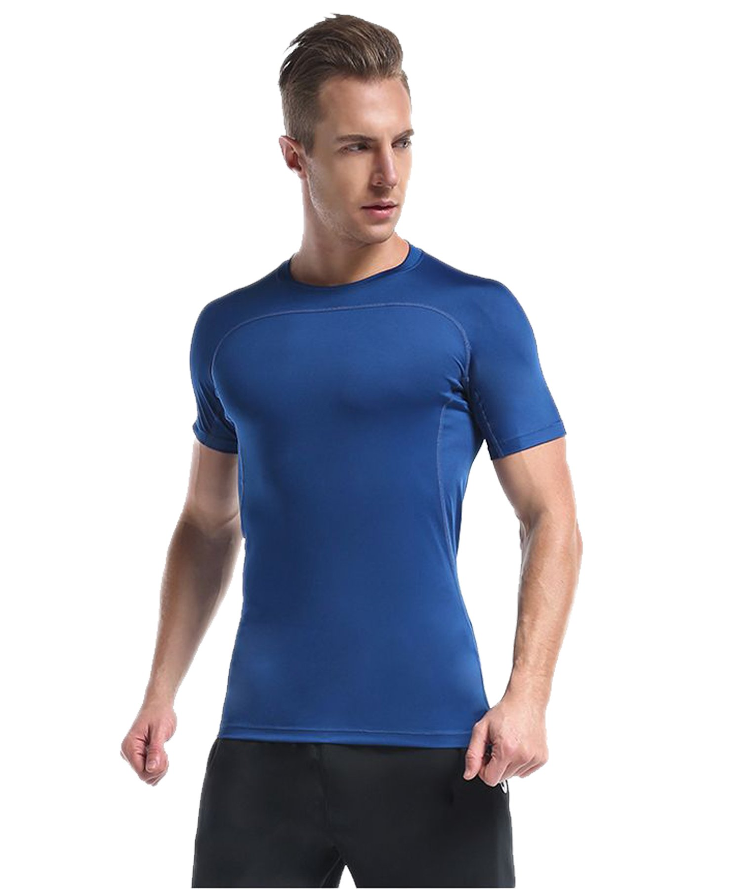 CAIKENI Men's Compression Short Sleeve T Shirts Cool Dry Baselayer for Fitness & Athletic Stretch Sport Shirt Bule XXXL