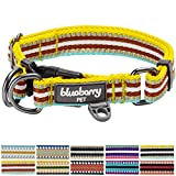 "Blueberry Pet 11 Colors 3M Reflective Multi-colored Stripe Dog Collar, Yellow Azure and Brown, Large, Neck 18""-26"", Adjustable Collars for Dogs"