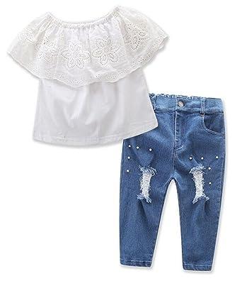 f1663ee14c490 Kids Girls Off Shoulder Flouncing Tops T Shirt Hole Denim Pants 2Pcs Outfits  Size 2T (