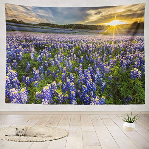 ASOCO Tapestry Wall Hanging Field Sunset Landscape Nature Flower Colorful Wild Sun Spring Wall Tapestry for Bedroom Living Room Tablecloth Dorm 80