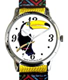 """""""Save Our Wildlife"""" Large Polished Chrome Watch with Yellow Nylon Strap has a """"Toucan"""" image and Donation to the African Wildlife Foundation"""