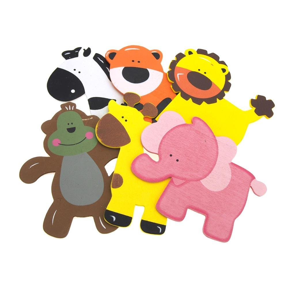 Homeford Assorted Safrari Animals Wooden Favors with Pink Elephant, 5-Inch, 6-Piece