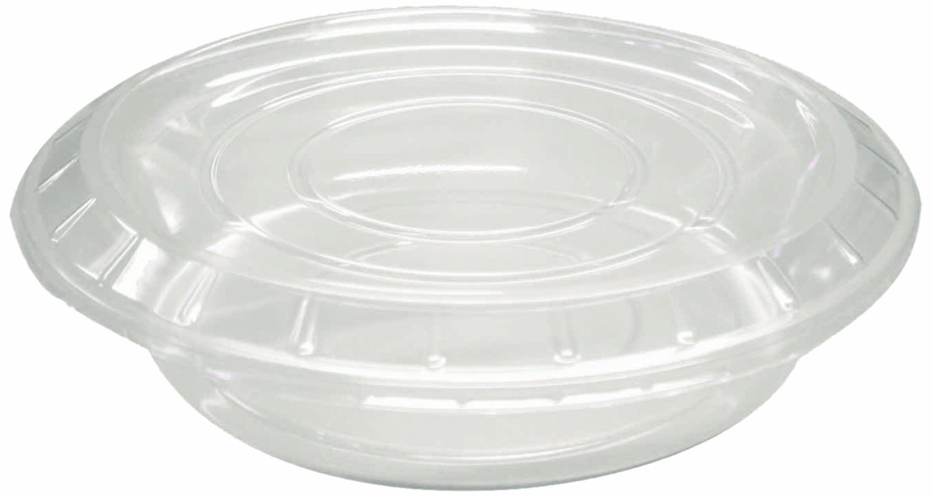 Choice-Pac FS-13005 Polyethylene Terephthalate Flat Round Salad Dish with Lid, 9-1/2'' Diameter x 2-1/4'' Height, Large (Case of 200)