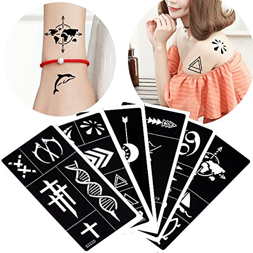 6 Pieces Henna Tattoo Stencil Hollow Medium Body Art Paint Template Temporary Draw (Henna Earth Tattoo)