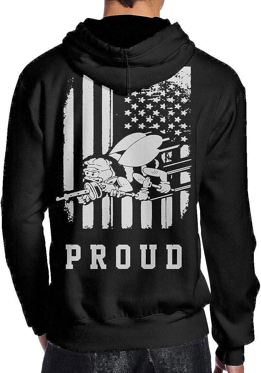 THEBUONUINV US Navy Seabee Veteran US Flag Mens Hoodie Hooded Sweatshirt