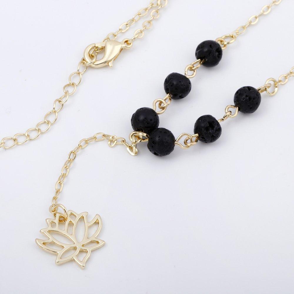 SENFAI 10K Gold Plating Natural Lava-Rock Stone Lotus Essential Oil Diffuser Girls Necklace