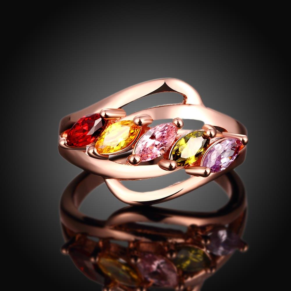 GemMart Jewelry SparShine Rose Gold Ring with Multicolor Crystal Fashion Wedding gold Ruby Ring
