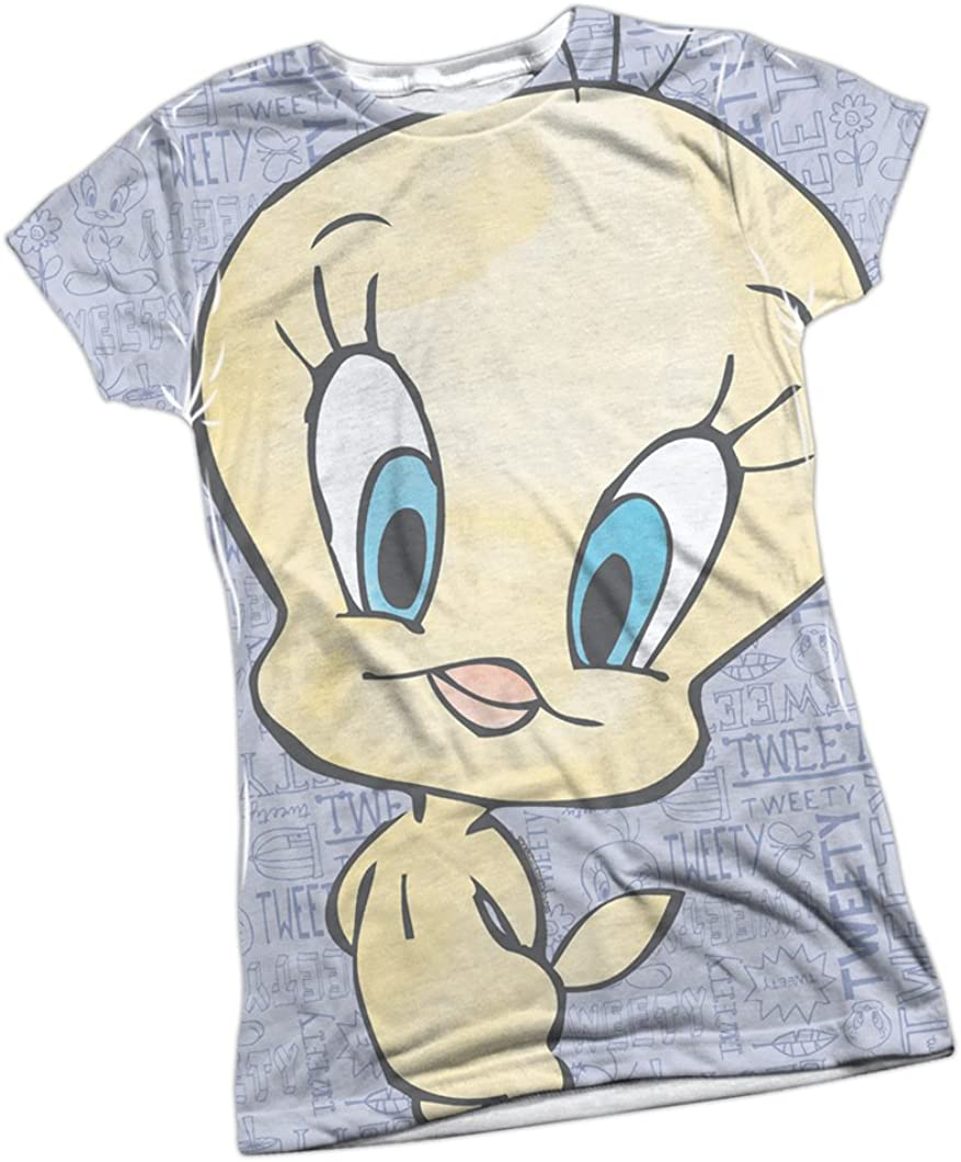 LOONEY TUNES TWEETY Bird in SHAMROCK Licensed Women/'s T-Shirt All Sizes