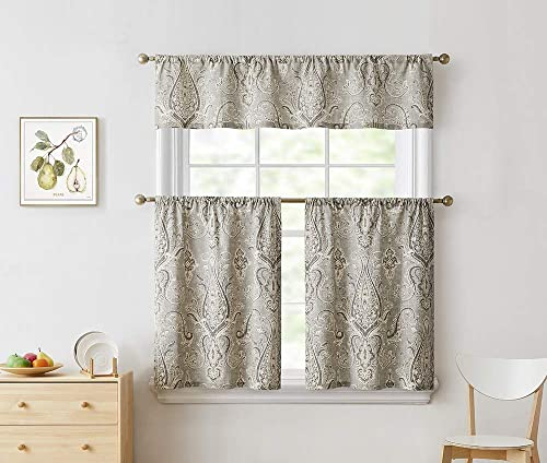 BOURINA Kitchen Curtain Tier and Valance Set Cotton Floral Printed Textured for Windows Cafe Curtains,Sand, 36 in. L