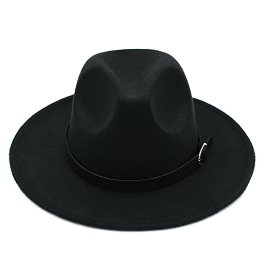 1118e7a9d5196 Elee Men Women s Wool Blend Panama Hats Wide Brim Fedora Trilby Caps Belt  Buckle Band (