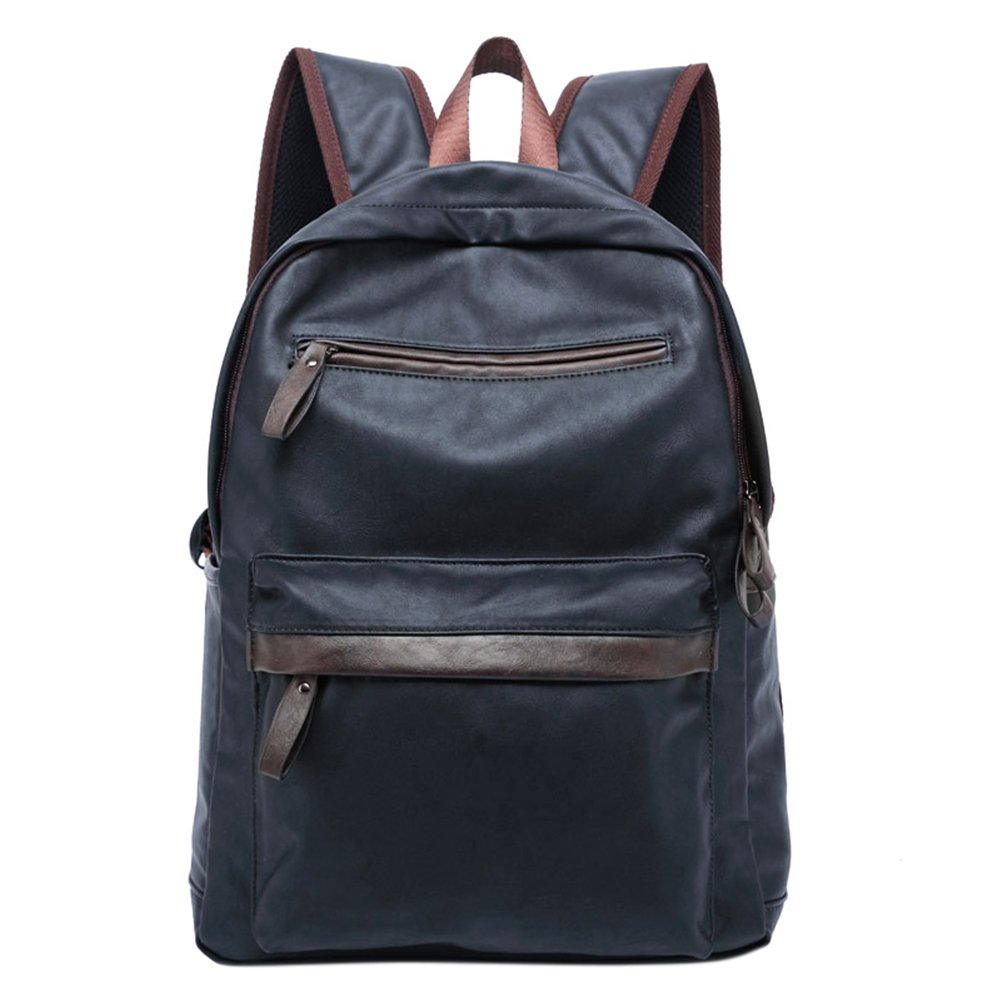 ThinkMax Men Leather School Backpack Casual Oil Wax Leather College Style Bag Male Daypacks Dark blue
