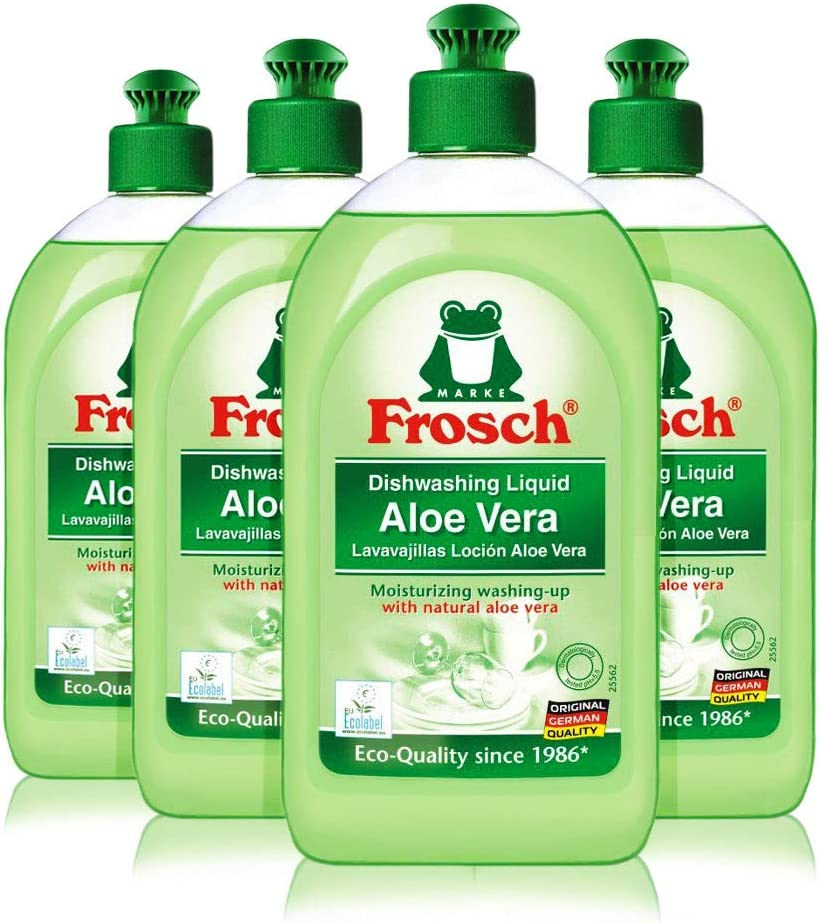 Frosch Natural Liquid Dish Soap, Vegan Hand Dishwashing Detergent, Aloe Vera, 16.9 oz, Pack of 4