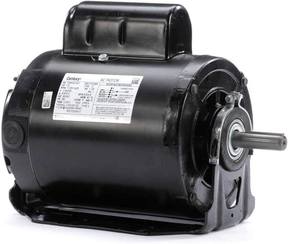 Century AO Smith RS1054AV1 Cap Start Resilient Motor, 1/2 HP, 1725, 1425 RPM, 115, 230V, 56 Frame