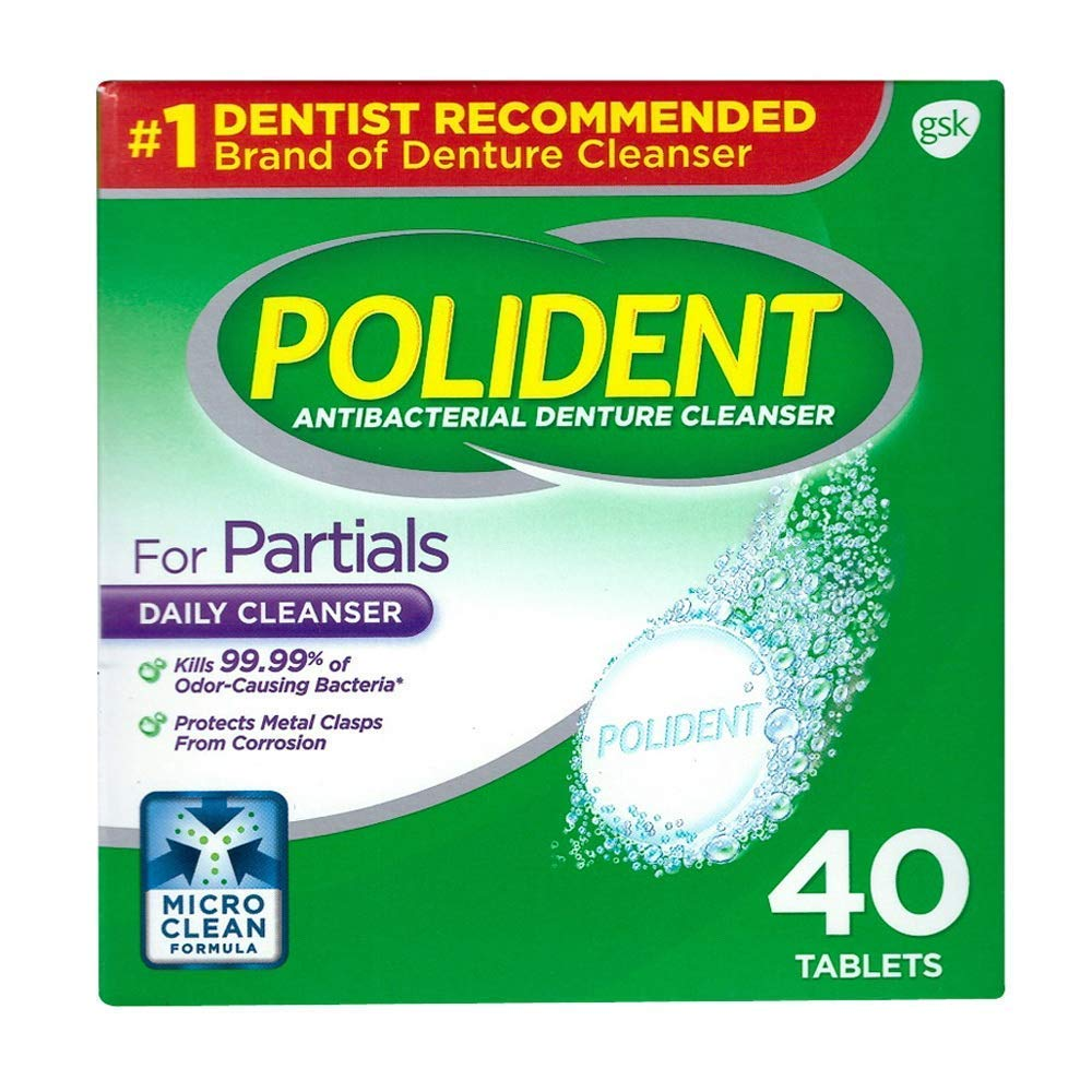 Polident for Partials Clean & Protect Cleanser Tablets 40 ea (Pack of 8)