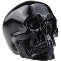 Laufout 0.25 lb Natural Obsidian Carved Realistic Crystal Skull Sculpture, Healing Energy Reiki Gemstone Collectible Figurine
