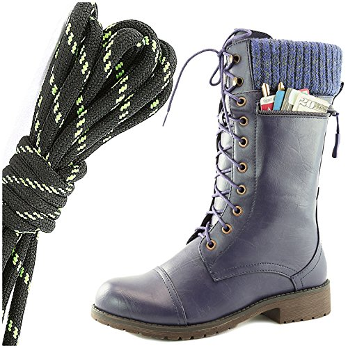DailyShoes Womens Combat Style Lace up Ankle Bootie Round Toe Military Knit Credit Card Knife Money Wallet Pocket Boots, Black Lime Purple Pu