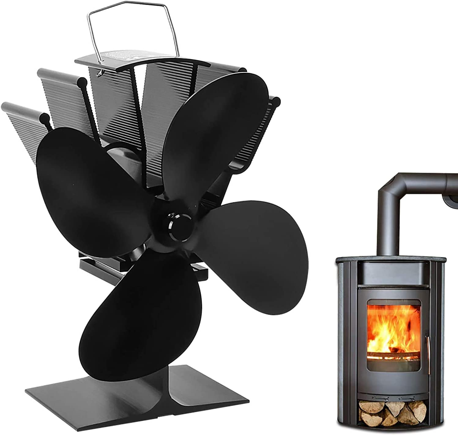 Mefine 4 Blades Stove Fan Heat Powered Stove Fireplace Fan Silent Motors for Home Wood Log Burning Fireplace Circulating Warm Air Saving Fuel Efficiently