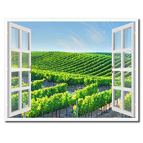 Wine Vineyards Napa Valley California Picture French Window Art Framed Print on Canvas Office Wall Home Decor Collection Gift Ideas, 22