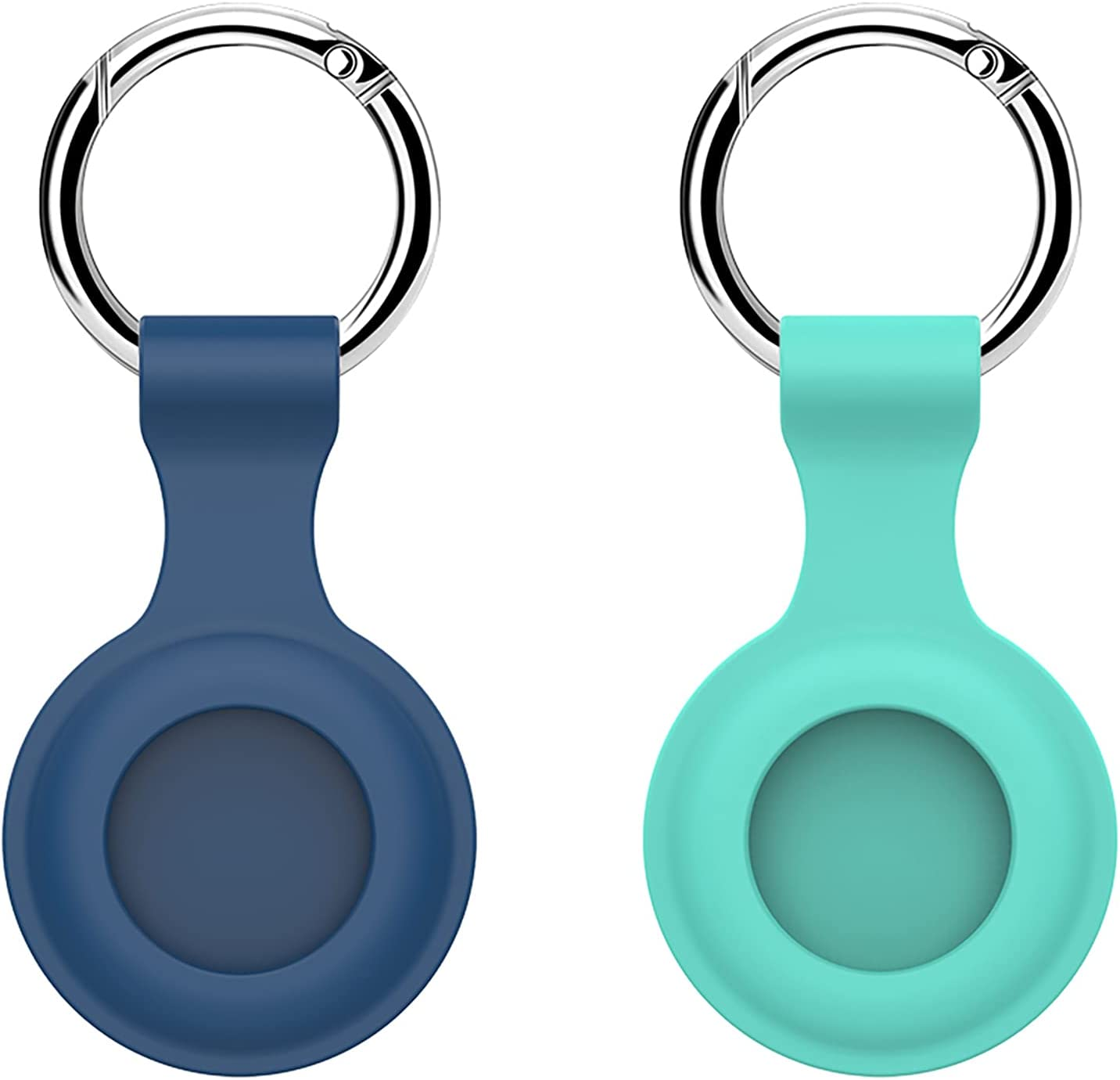 Case for Air Tag Airtag Silicone Protective Cover with Keychain Compatible for Apple iPhone Finder Location Tracker Best Gift for Kids Boys Girls Teens Elderly Pets Dogs Cats Grey Blue & Teal Blue