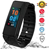 Lifestyle Gadget Funbot Fitness Tracker,Colorful Screen Smart Pedometer Bracelet -IP67 Waterproof with Sleep Calorie Counter for Replacement Red/Blue Band Android & iOS