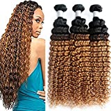 8A Ombre Brazilian Deep Wave virgin hair weave 3 bundles Wet And Wavy Brazilian Hair Water Wave deep curly weave Human Hair 1B30(20 22 24) For Sale