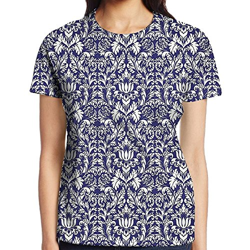(WuLion Mosaic Pattern of Royal Blue Baroque Vintage Detailed Axis Damask Floral Motifs Women's 3D Print T Shirt L White)
