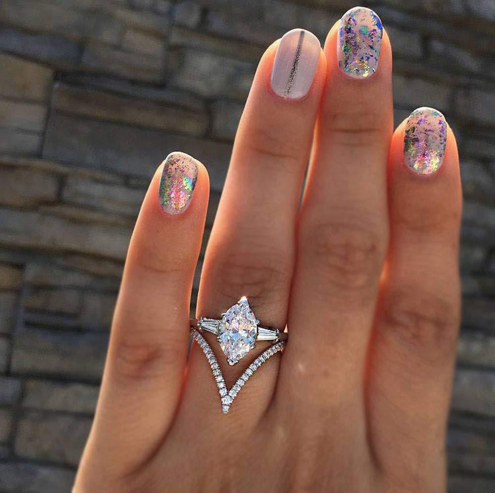 Sinwo Women Exquisite Diamond Jewelry Wedding Band Engagement Rings (White, 8)