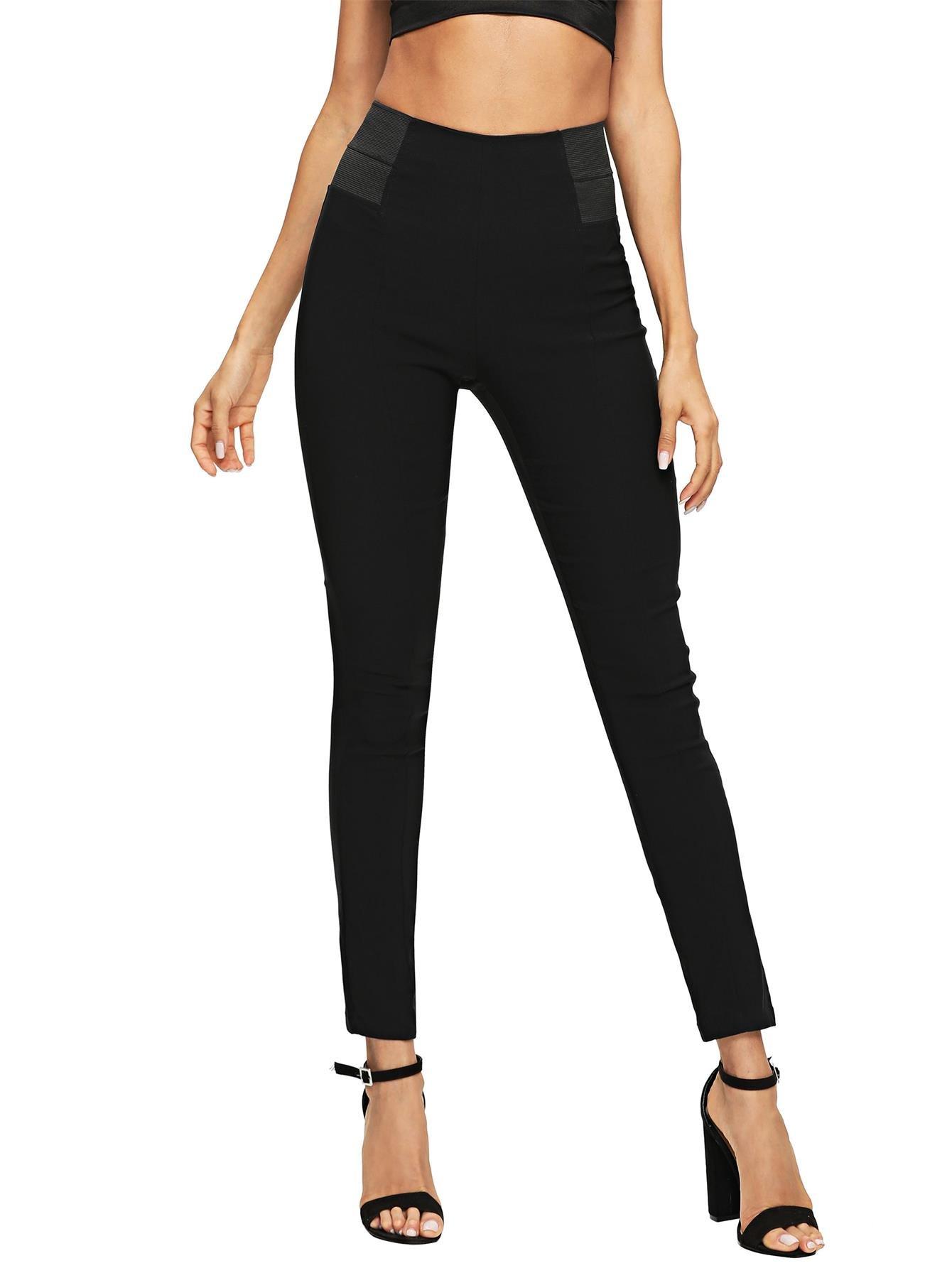 SweatyRocks Women's Casual Plaid Leggings Stretchy Work Pants Black #4 M