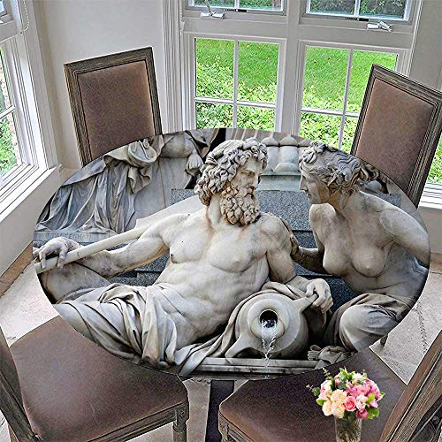 Mikihome Modern Table Cloth Collection Male and Female Statues Athena Fountain in Front of The Building of Indoor or Outdoor Parties 31.5