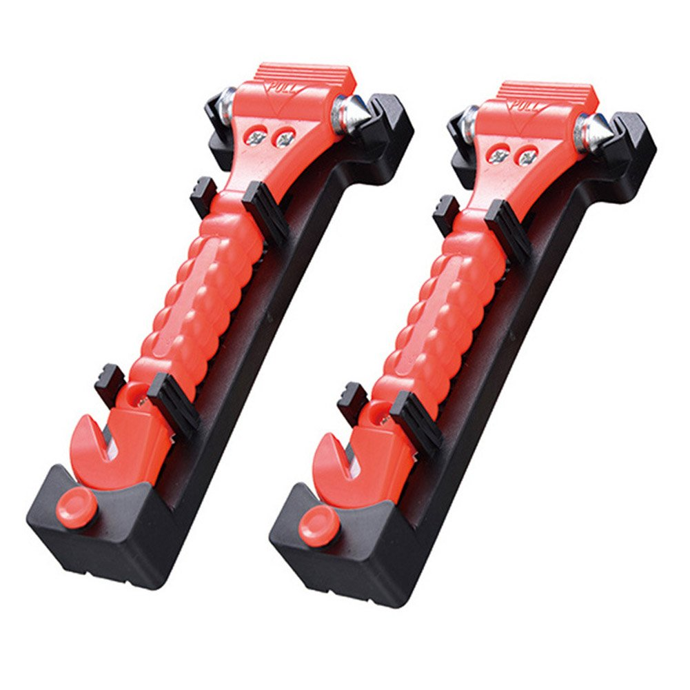 Orgrimmar 2 PCS Emergency Escape Tool Car Safety Hammer Window Breaker,Seatbelt Cutter,Multi-Purpose Life-saving Auto Emergency Hammer