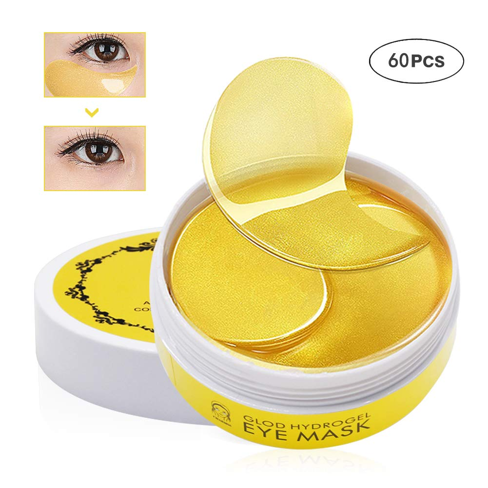 Charmss Collagen Eye Mask, Golden Collagen Eye Pads, Golden Anti Wrinkle Collagen Anti Aging Eye Mask, Wrinkle Care, Remove Dark Circles Under-eye Puffiness Eye Wrinkles Moisturiser Mask (60pcs). (gold)