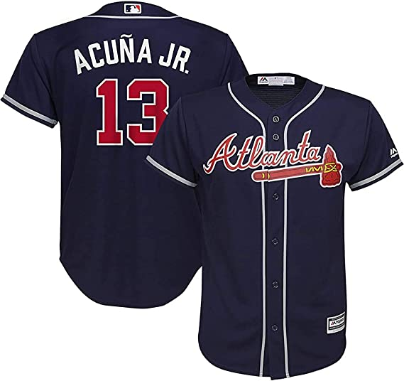 Outerstuff Ronald Acuna Jr Atlanta Braves Toddler White Home Cool Base Player Jersey