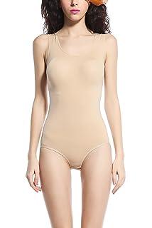 KHAYA Womens Basic Body Shape Bodysuit Long Sleeve Leotard